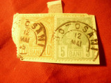 2 Timbre 10 bani rosu si 5 bani verde - Vulturi 1885 , pe fragment , stampilate, Stampilat