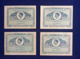 Bancnote România -lot 4 bancnote 100 lei 1945-Regele Mihai (starea care se vede)