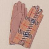 Cumpara ieftin Manusi dama, textil cu fata ecosez predominant bej