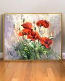 Tablou cu flori de maci, tablou peisaj camp cu flori, pictura in cutit ulei