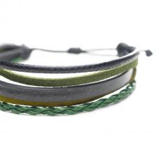 Bratara de piele si snur lucios, de barbati, negru-verde, Army
