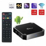 TV Box X96 Mini 4K, Quad-Core, 1GB RAM, 8GB ROM, Suport TV sau perete, KODI, WiFi, HDMI, Android 7.1.2, Prelungitor IR