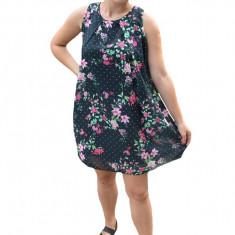 Rochie de vara Aase cu aplicatii de voal si imprimeu floral,nuanta de negru
