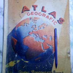 Carte veche Atlas Geografic Gheorghiu 1944 tiparit dupa ocupatia sovietica