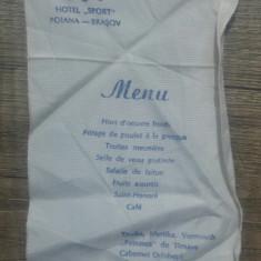Meniu Hotel Sport, Poiana-Brasov// 1964, imprimat pe panza