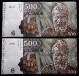 ROMANIA set lot 2 x 500 LEI 1991 ianuarie consecutive aUNC **