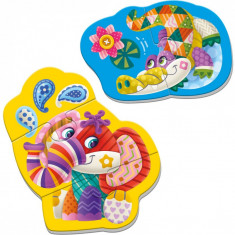 Puzzle magnetic Elefant/Crocodil Roter Kafer, 22 x 17 cm, 5 piese, 3 ani+