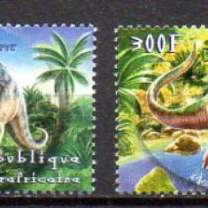 R. Centrafricana 2001 Fauna, Animale preistorice, Dinozauri, serie neuzata, MNH
