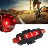 Stop bicicleta 5 LED-uri, acumulator reincarcabil USB, 5 moduri iluminare, impermeabil