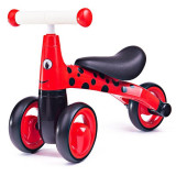 Tricicleta fara pedale Didicar, 24 x 51.5 x 18.5 cm, plastic, maxim 20 kg, 1-2 ani, model buburuza, Rosu/Negru