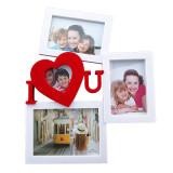 Rama foto colaj 3 poze - I Love You, 32x40 cm, fotografii incluse