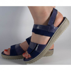 Sandale platforma piele naturala albastre (cod 4625-56)