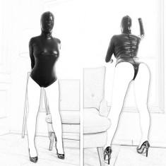 Sexy Catsuit cu Masca Gluga Fermoar Jumpsuit Zipper Vinil Piele PU Open Crotch