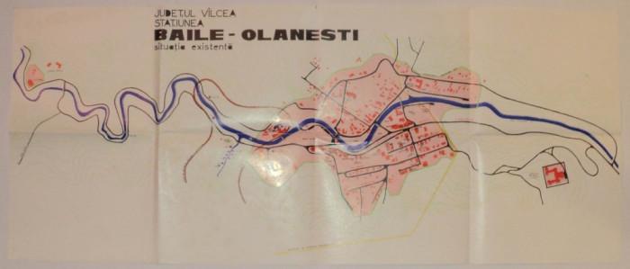Harta veche Baile Olanesti, Judetul valcea, anii 70