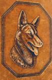 Mapa veche etui din piele pentru bloc desen gravata manual caine lup