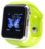 Smartwatch iUni A100i 1294, BT, LCD Capacitive touchscreen 1.54 Inch, Camera, Bratara Silicon, Functie telefon (Verde)