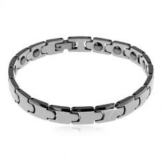 Brățară din tungsten, argintie , cu bile magnetice