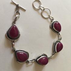 Bratara cu marcaj argint 925 reglabil cu pietre naturale Rubin taiate inima