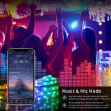 Cumpara ieftin Kit Banda LED RGB Vivid Light,10 Metri,Bluetooth Controlul APP,cu Telecomanda IR 44 Taste,SMD 5050,12V,Multicolor