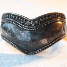 BRATARA argint ARVI TRIBALA INDIA lata REGLABILA de efect VECHE patina MINUNATA