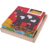 Puzzle cubic - Animalute de la ferma, Bigjigs