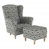 Fotoliu cu taburet, material textil in stilul patchwork N1, ASTRID