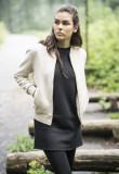 Ladies Imitation Suede Bomber Jacket