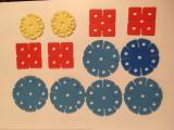 Joc romanesc vechi tip lego cu floricele mari, 12 bucati rosu, galben, albastru