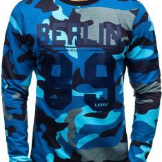 Bluză pentru bărbat fără glugă cu imprimeu camuflaj-albastru Bolf 0743