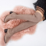 Cizme Kasvio khaki peste genunchi