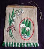 Ghiocei de 8 Martie - Tablou textil artizanal anii 70, cusut manual, 35 x 28cm