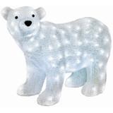 Figurina Craciun Urs Polar, acril, 120 LED-uri alb rece, IP44, 58x42 cm