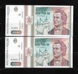 LOT 2 BANCNOTE 1000 1 000 LEI 1993,  NECIRCULATE, SERII CONSECUTIVE