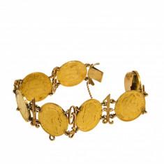 Bratara din aur galben 14K cu 7 monede vechi 22K
