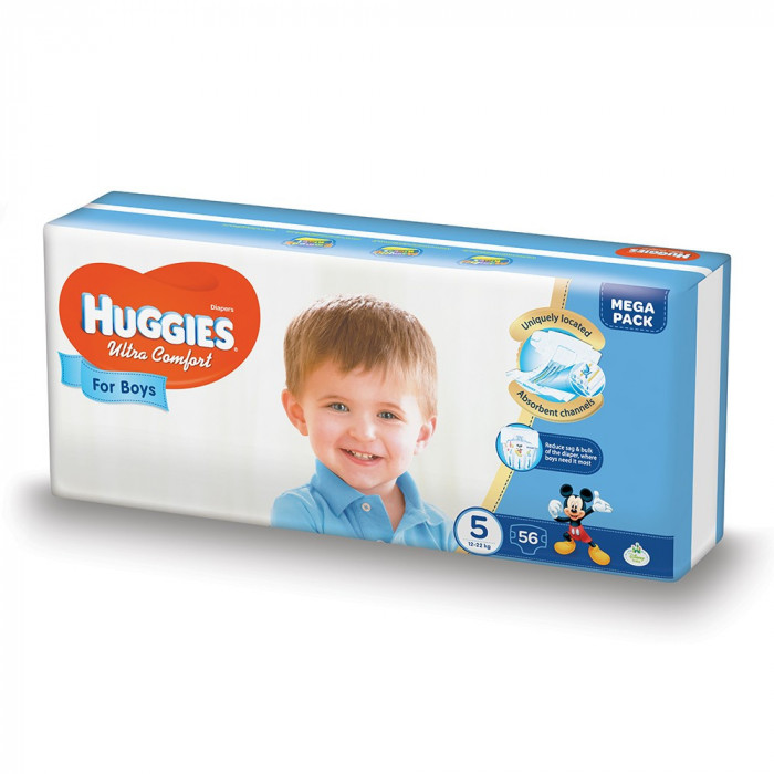 Scutece Huggies Ultra Confort Mega, Numarul 5, pentru baieti, 56 bucati, 12-22 Kg EVO
