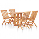 Cumpara ieftin Set mobilier de exterior pliabil 5 piese lemn masiv de tec
