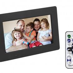 Rama foto digitala ultra-subtire 9mm cu slot USB SD, Led Negru si difuzor de redare media + Telecomanda