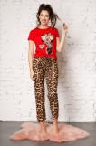 Pijama Minnie Mouse cu bluza rosie si pantaloni cu animal print