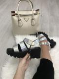 Sandale dama argintii cu platforma marime 39, 40+CADOU