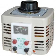Autotransformator monofazic, 220V - 0-250V - 500W cu voltmetru analogic
