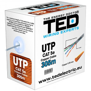 Cablu UTP Ted Electric, categoria 5, cupru, 0.5 mm, 305 m