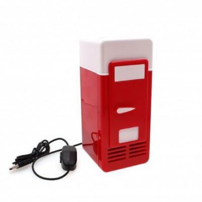 Mini frigider rosu si alb pentru birou cu alimentare USB foto