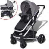 Cumpara ieftin Căruț/cărucior pentru copii 2 în 1 din aluminiu, gri și negru