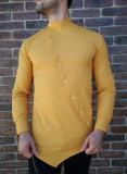 Cumpara ieftin Camasa asimetrica mustar - camasa barbat- camasa slim fit - cod 209, L, M, XL, Maneca lunga