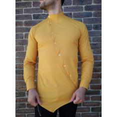 Camasa asimetrica mustar - camasa barbat- camasa slim fit - cod 209
