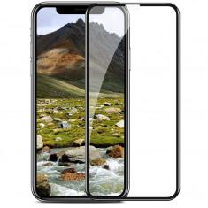 Folie sticla premium, 4D, 9H, neagra, pentru iPhone X sau iPhone XS