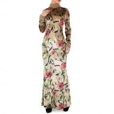Rochie lunga, eleganta, cu imprimeu floral, broderie si margelute, S, Roz