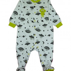 Salopeta / Pijama bebe imprimeu martieni Z86, 1-2 ani, 12-18 luni, 3-6 luni, 9-12 luni, Alb
