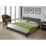 Corium® Pat frantuzesc Berlin2, modern, tapitat, tesatura, fara saltea, 140x200 cm, gri inchis HausGarden Leisure