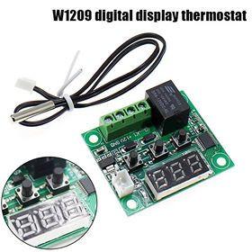termostat digital universal 12v 50-100 grade w1209 cu sonda  si releu de 20A foto